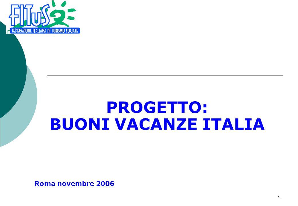 1 PROGETTO: BUONI VACANZE ITALIA Roma novembre 2006