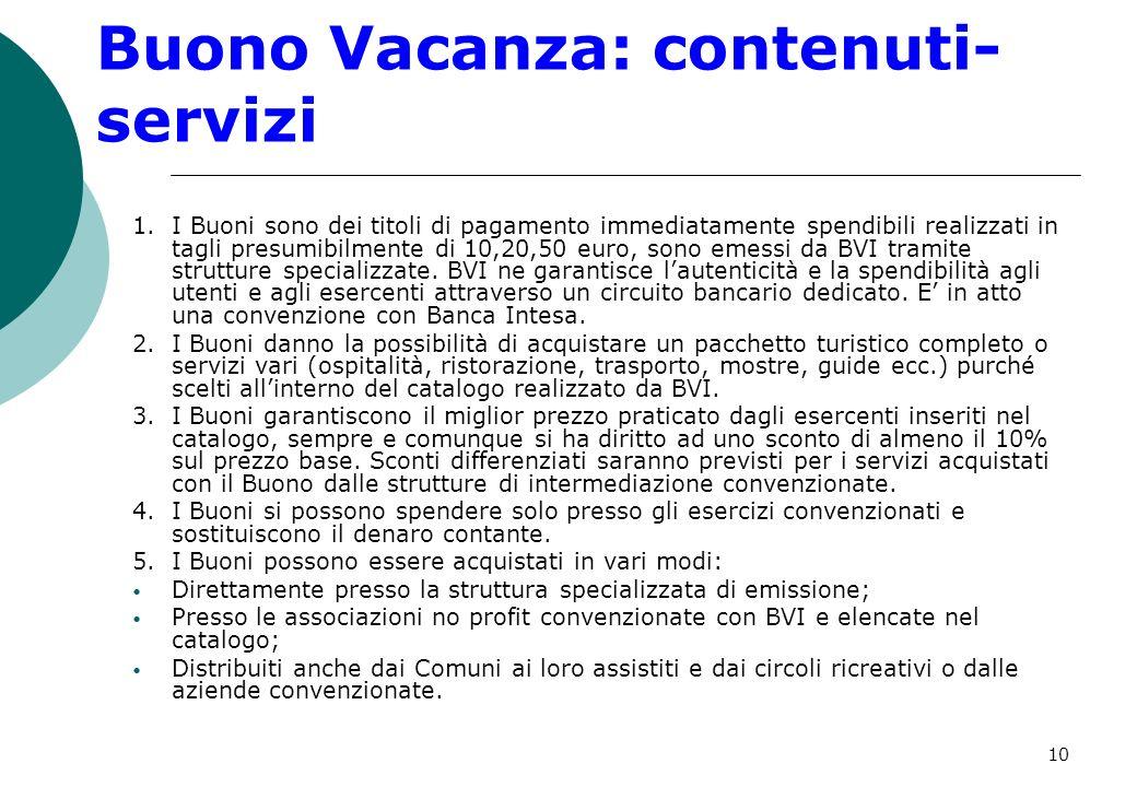 10 Buono Vacanza: contenuti- servizi 1.