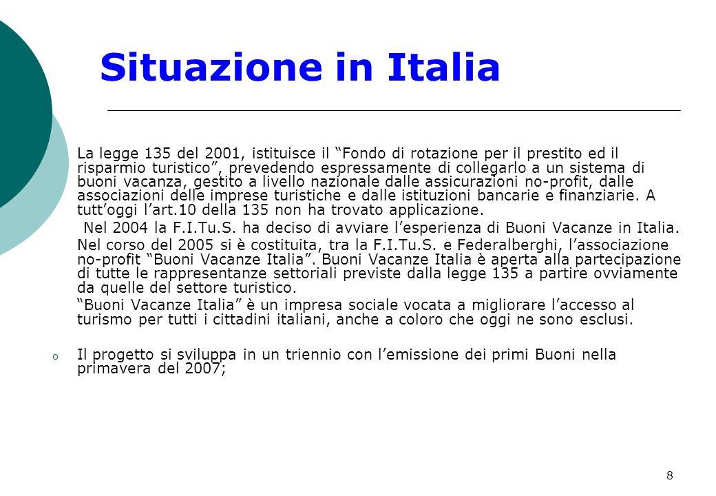 8 Situazione in Italia La legge 135 del 2001, istituisce il Fondo di rotazione per il prestito ed il risparmio turistico, prevedendo espressamente di collegarlo a un sistema di buoni vacanza, gestito a livello nazionale dalle assicurazioni no-profit, dalle associazioni delle imprese turistiche e dalle istituzioni bancarie e finanziarie.