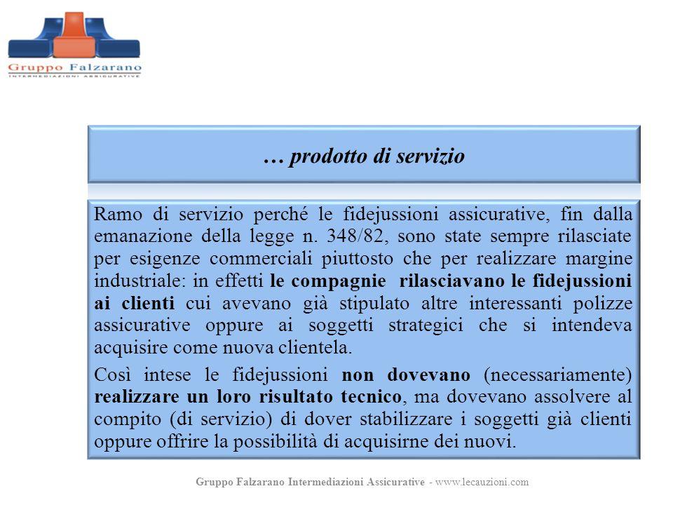 Ramo di servizio perché le fidejussioni assicurative, fin dalla emanazione della legge n. 348/82, sono state sempre rilasciate per esigenze commercial