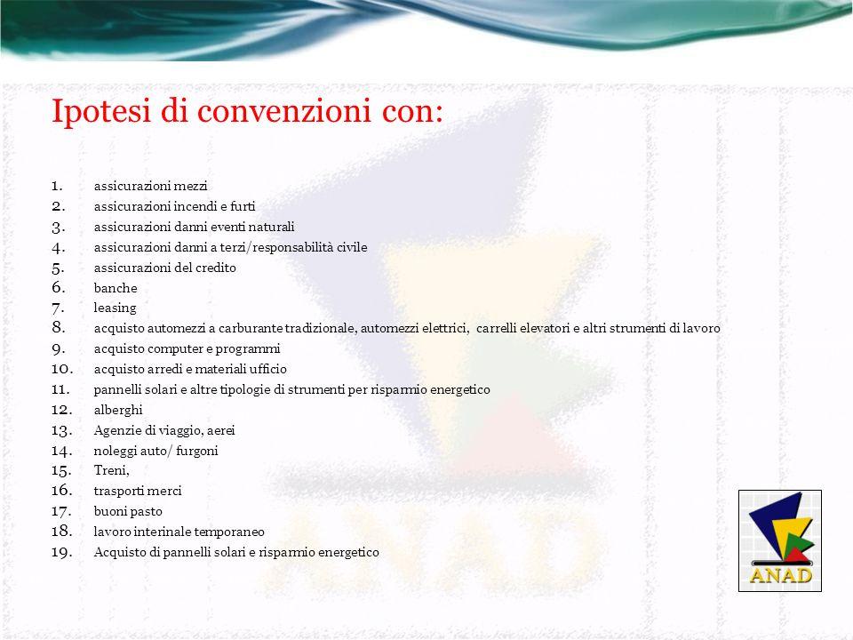 Ipotesi di convenzioni con: 1. assicurazioni mezzi 2.