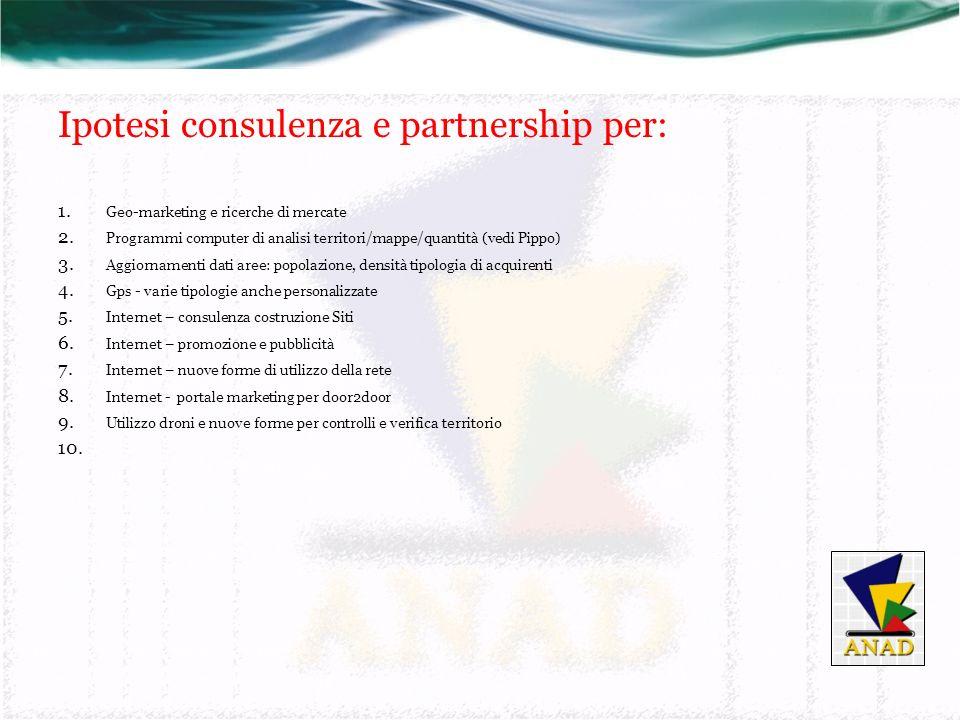 Ipotesi consulenza e partnership per: 1. Geo-marketing e ricerche di mercate 2.