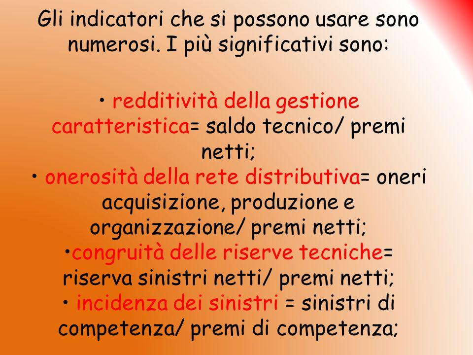 Gli indicatori che si possono usare sono numerosi. I più significativi sono: redditività della gestione caratteristica= saldo tecnico/ premi netti; on