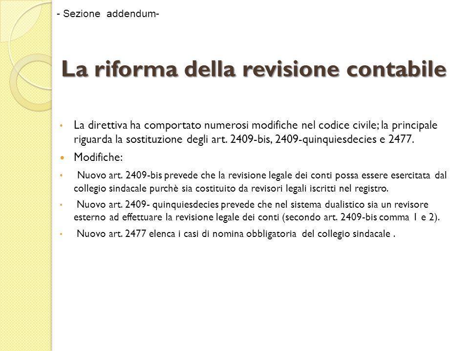 La riforma della revisione contabile La direttiva ha comportato modifiche nel TUF in termini di: terminologia e nellintroduzione di obblighi di comunicazione alla Consob ai fini dellattività di vigilanza - Sezione addendum-