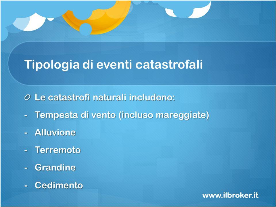 Tipologia di eventi catastrofali Le catastrofi naturali includono: -Tempesta di vento (incluso mareggiate) -Alluvione -Terremoto -Grandine -Cedimento
