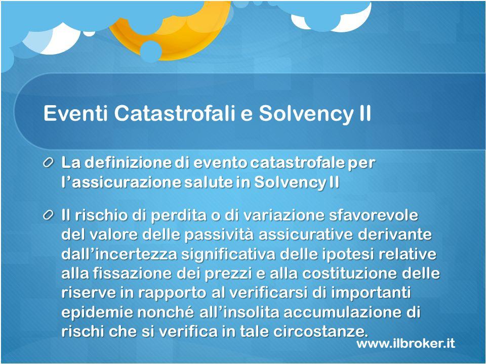 Eventi Catastrofali e Solvency II La definizione di evento catastrofale per lassicurazione salute in Solvency II Il rischio di perdita o di variazione