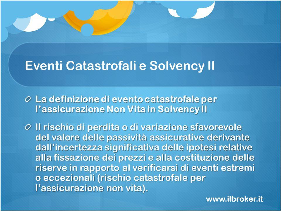 Eventi Catastrofali e Solvency II La definizione di evento catastrofale per lassicurazione Non Vita in Solvency II Il rischio di perdita o di variazio