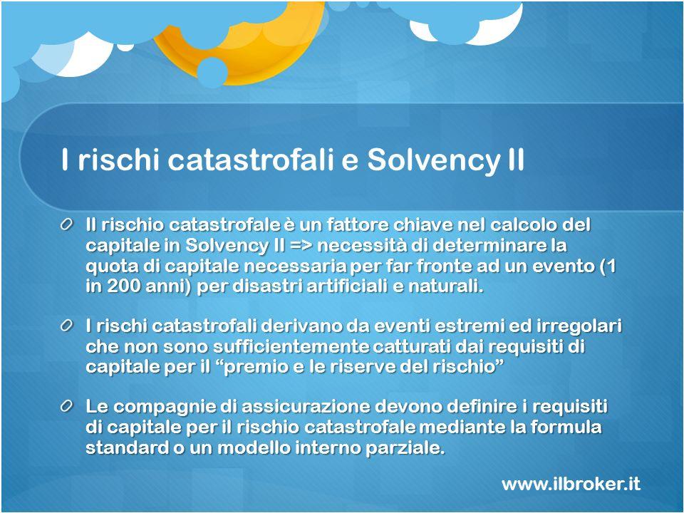 I rischi catastrofali e Solvency II Il rischio catastrofale è un fattore chiave nel calcolo del capitale in Solvency II => necessità di determinare la