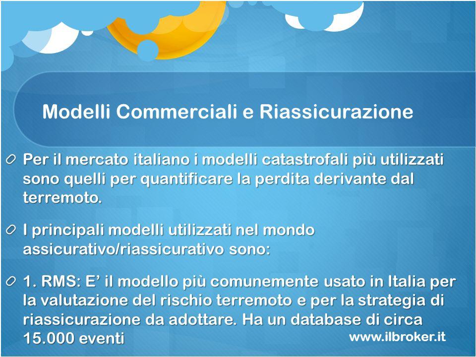 Modelli Commerciali e Riassicurazione Per il mercato italiano i modelli catastrofali più utilizzati sono quelli per quantificare la perdita derivante