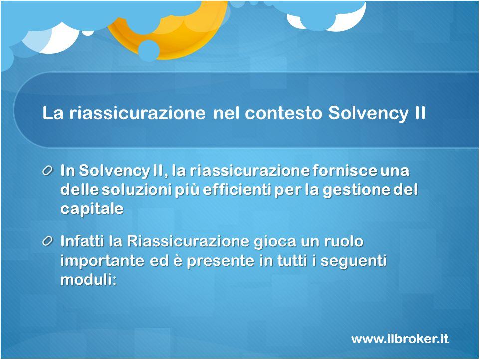 La riassicurazione nel contesto Solvency II In Solvency II, la riassicurazione fornisce una delle soluzioni più efficienti per la gestione del capital