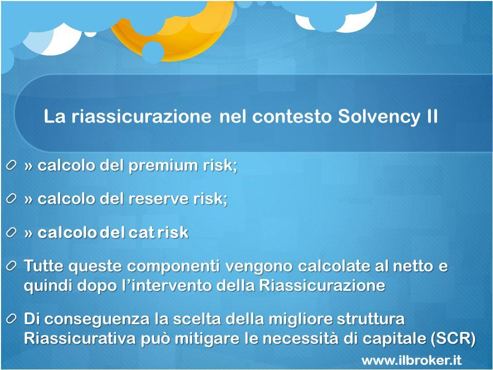 La riassicurazione nel contesto Solvency II » calcolo del premium risk; » calcolo del reserve risk; » calcolo del cat risk Tutte queste componenti ven