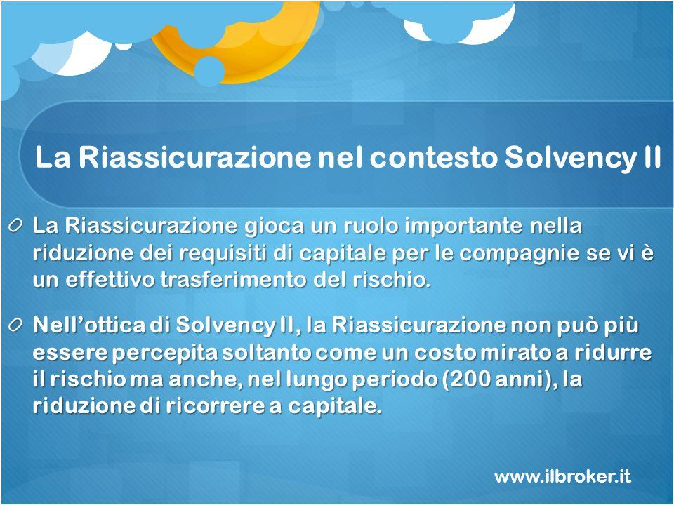 La Riassicurazione nel contesto Solvency II La Riassicurazione gioca un ruolo importante nella riduzione dei requisiti di capitale per le compagnie se