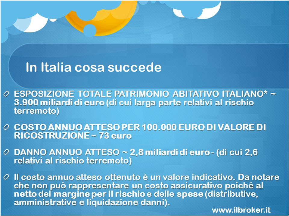 In Italia cosa succede ESPOSIZIONE TOTALE PATRIMONIO ABITATIVO ITALIANO* ~ 3.900 miliardi di euro (di cui larga parte relativi al rischio terremoto) C