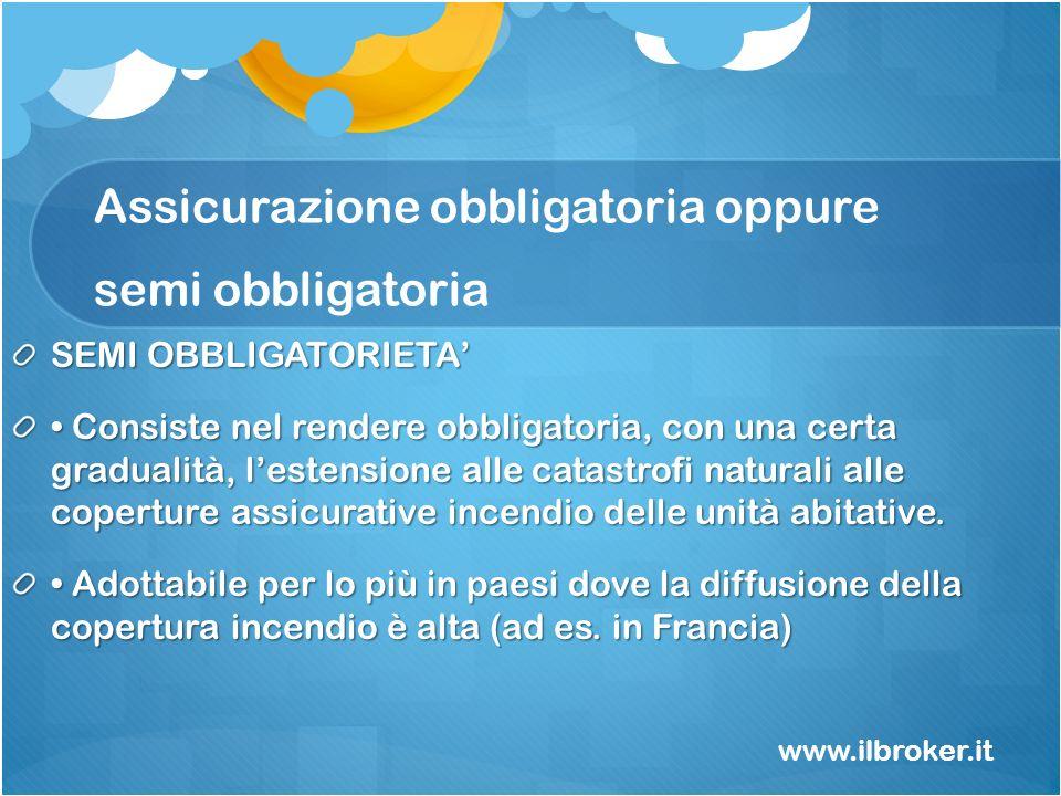 Assicurazione obbligatoria oppure semi obbligatoria SEMI OBBLIGATORIETA Consiste nel rendere obbligatoria, con una certa gradualità, lestensione alle