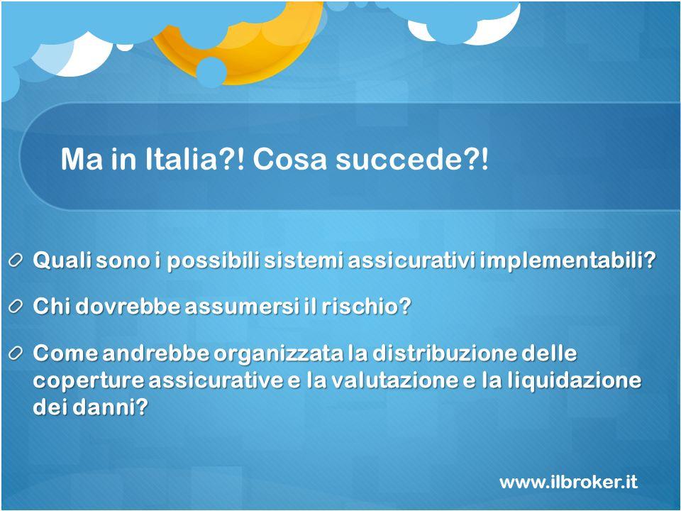 Ma in Italia?! Cosa succede?! Quali sono i possibili sistemi assicurativi implementabili? Chi dovrebbe assumersi il rischio? Come andrebbe organizzata