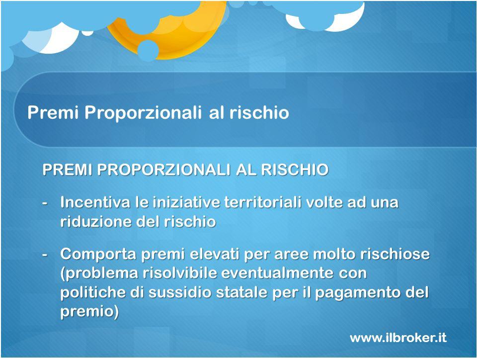 Premi Proporzionali al rischio www.ilbroker.it PREMI PROPORZIONALI AL RISCHIO -Incentiva le iniziative territoriali volte ad una riduzione del rischio