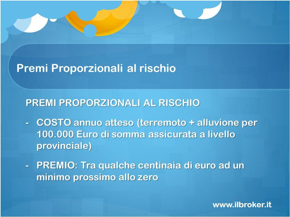 Premi Proporzionali al rischio www.ilbroker.it PREMI PROPORZIONALI AL RISCHIO -COSTO annuo atteso (terremoto + alluvione per 100.000 Euro di somma ass