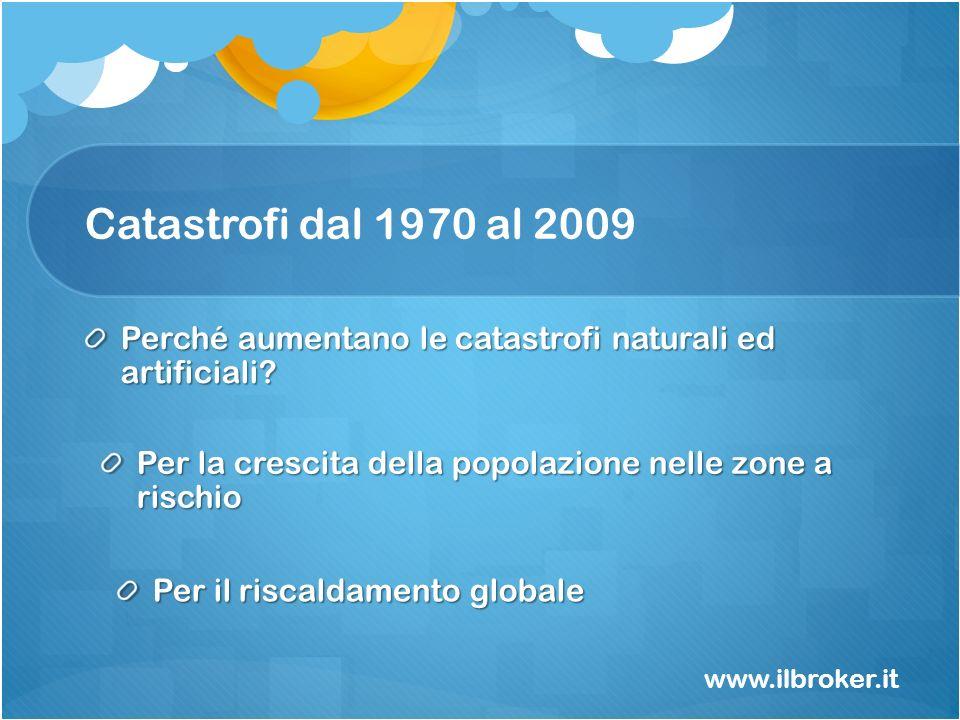 Catastrofi dal 1970 al 2009 www.ilbroker.it Perché aumentano le catastrofi naturali ed artificiali? Per la crescita della popolazione nelle zone a ris