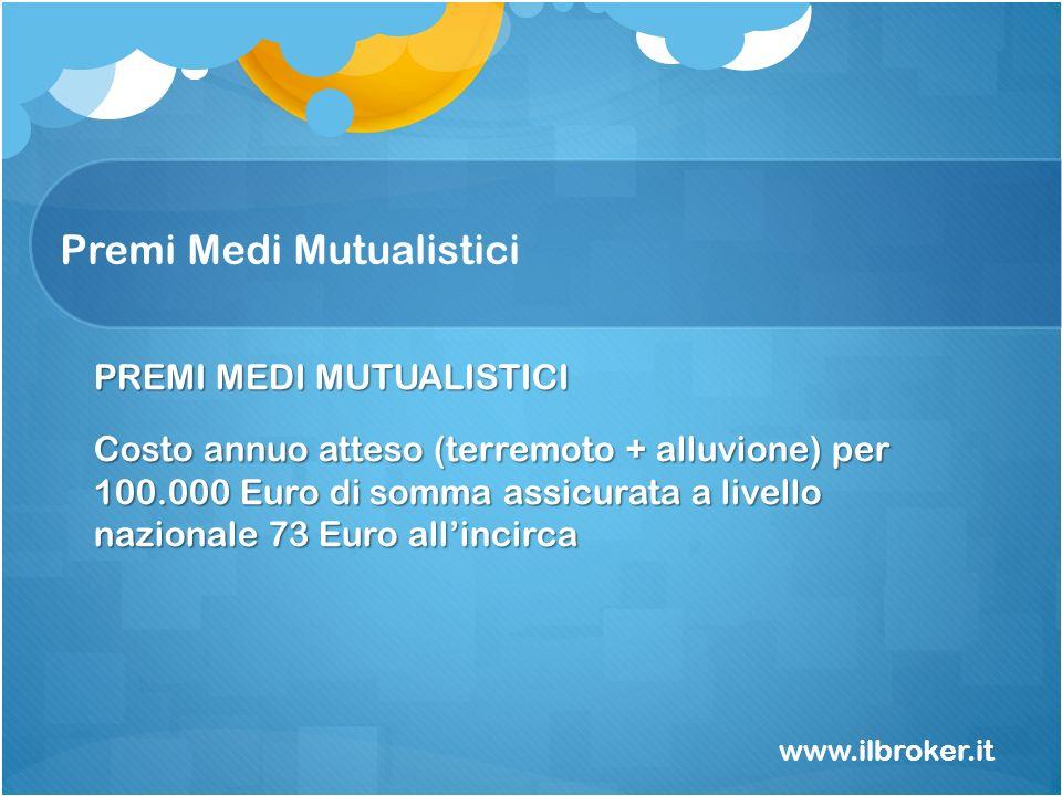 Premi Medi Mutualistici www.ilbroker.it PREMI MEDI MUTUALISTICI Costo annuo atteso (terremoto + alluvione) per 100.000 Euro di somma assicurata a live