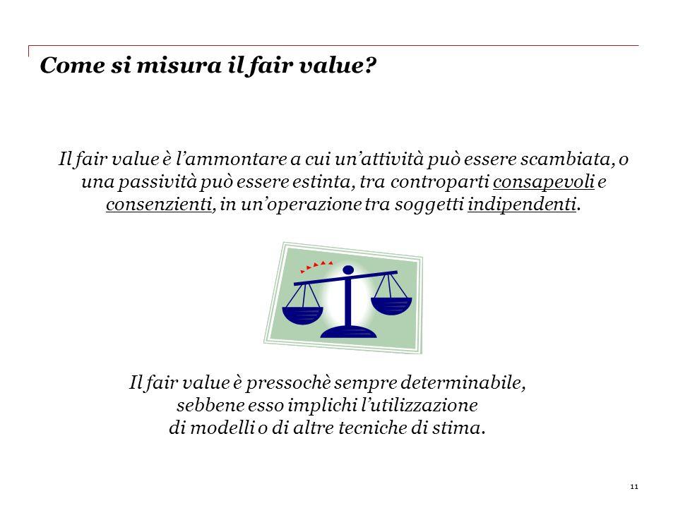Come si misura il fair value? 11 Il fair value è lammontare a cui unattività può essere scambiata, o una passività può essere estinta, tra controparti