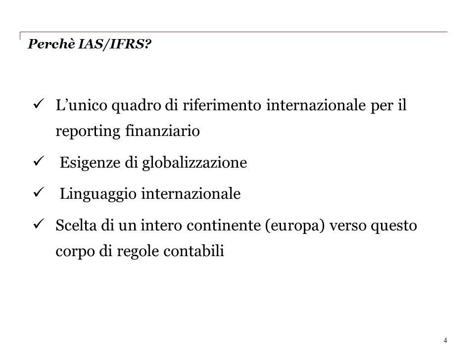 Perchè IAS/IFRS? Lunico quadro di riferimento internazionale per il reporting finanziario Esigenze di globalizzazione Linguaggio internazionale Scelta