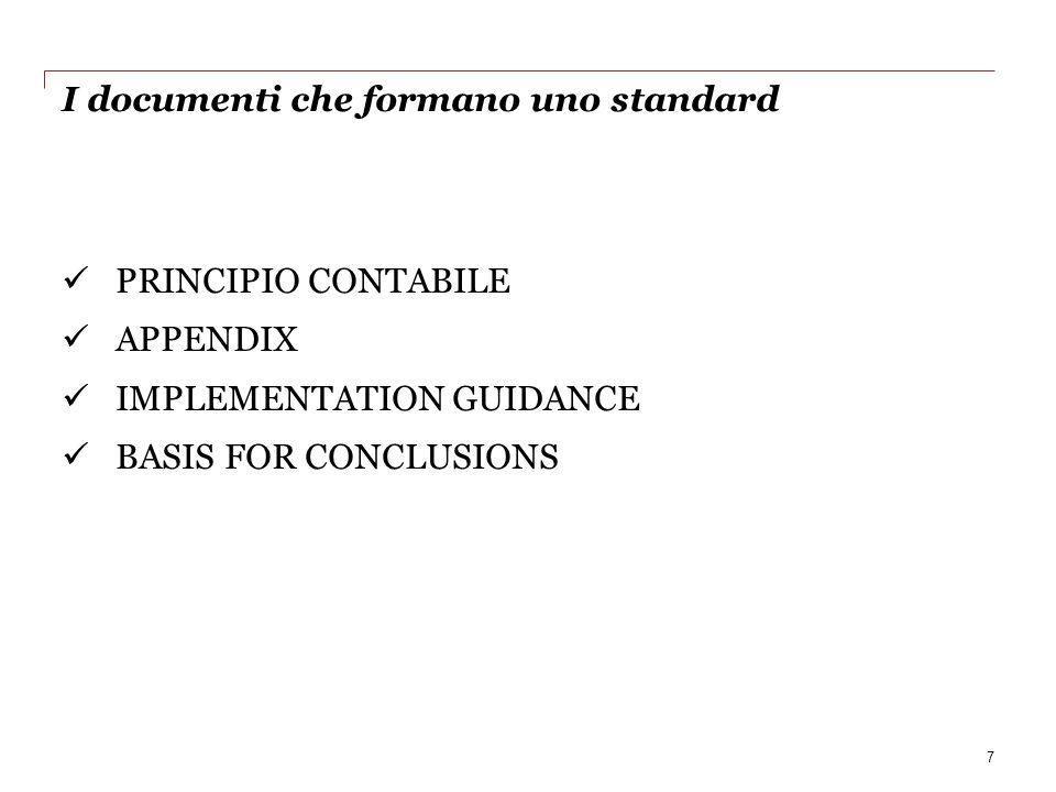 I documenti che formano uno standard PRINCIPIO CONTABILE APPENDIX IMPLEMENTATION GUIDANCE BASIS FOR CONCLUSIONS 7