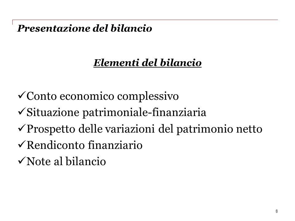Presentazione del bilancio Elementi del bilancio Conto economico complessivo Situazione patrimoniale-finanziaria Prospetto delle variazioni del patrim