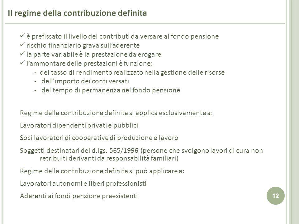 12 Il regime della contribuzione definita è prefissato il livello dei contributi da versare al fondo pensione rischio finanziario grava sulladerente l