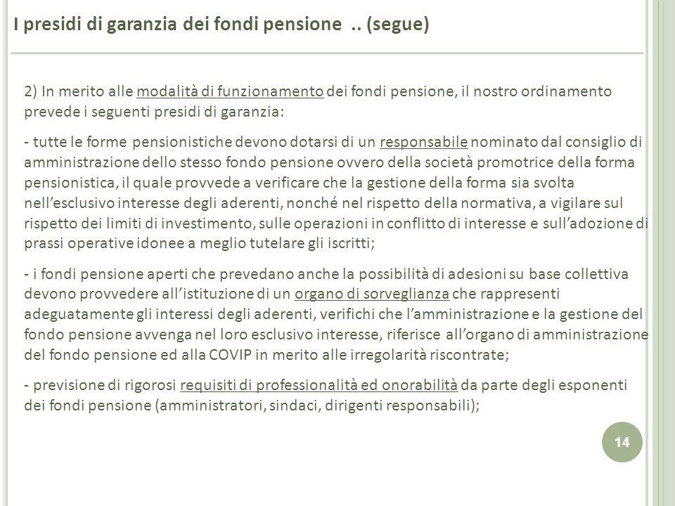 14 I presidi di garanzia dei fondi pensione.. (segue) 2) In merito alle modalità di funzionamento dei fondi pensione, il nostro ordinamento prevede i