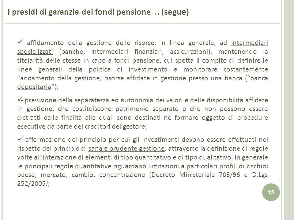 15 I presidi di garanzia dei fondi pensione.. (segue) - affidamento della gestione delle risorse, in linea generale, ad intermediari specializzati (ba