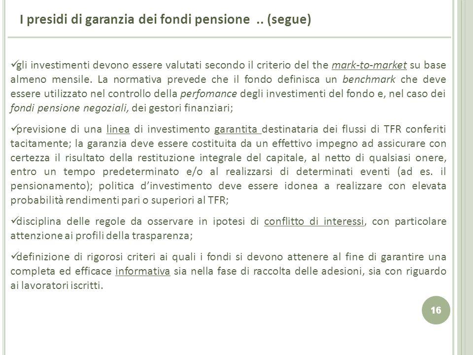 16 I presidi di garanzia dei fondi pensione.. (segue) gli investimenti devono essere valutati secondo il criterio del the mark-to-market su base almen