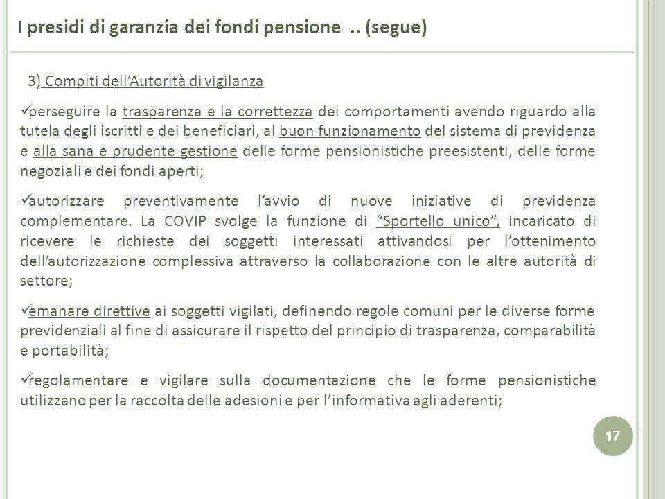 17 I presidi di garanzia dei fondi pensione.. (segue) 3) Compiti dellAutorità di vigilanza perseguire la trasparenza e la correttezza dei comportament