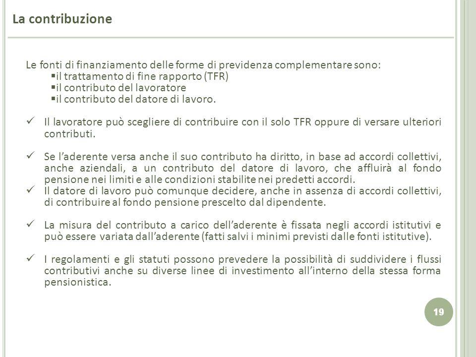 19 La contribuzione Le fonti di finanziamento delle forme di previdenza complementare sono: il trattamento di fine rapporto (TFR) il contributo del la