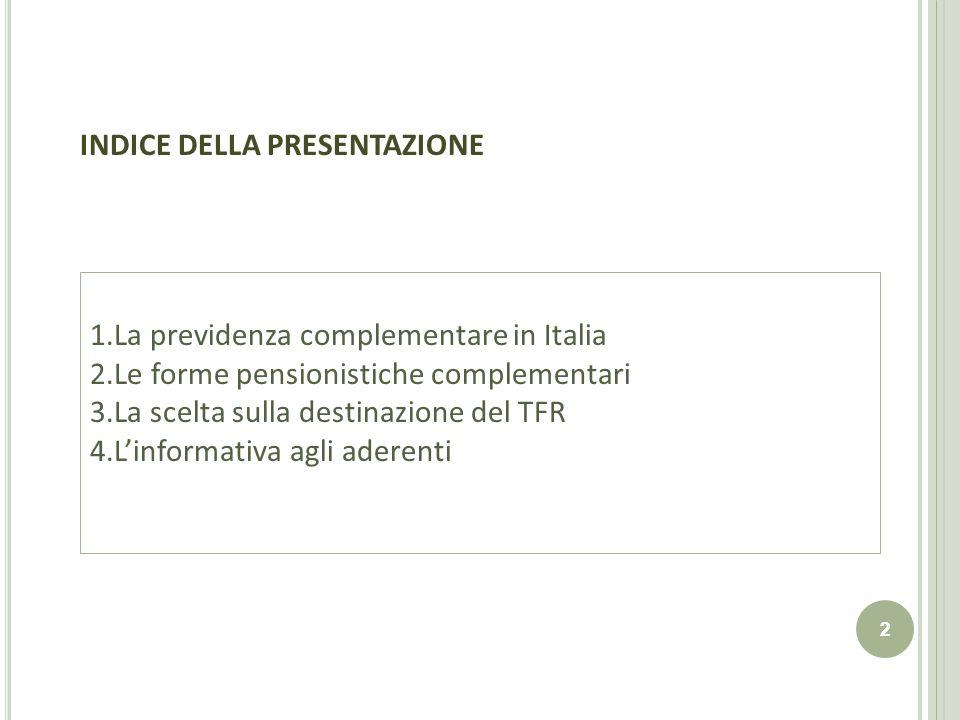 2 2 INDICE DELLA PRESENTAZIONE 1.La previdenza complementare in Italia 2.Le forme pensionistiche complementari 3.La scelta sulla destinazione del TFR