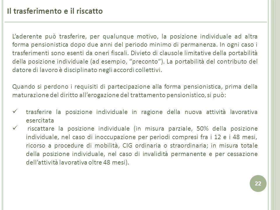 22 Il trasferimento e il riscatto Laderente può trasferire, per qualunque motivo, la posizione individuale ad altra forma pensionistica dopo due anni