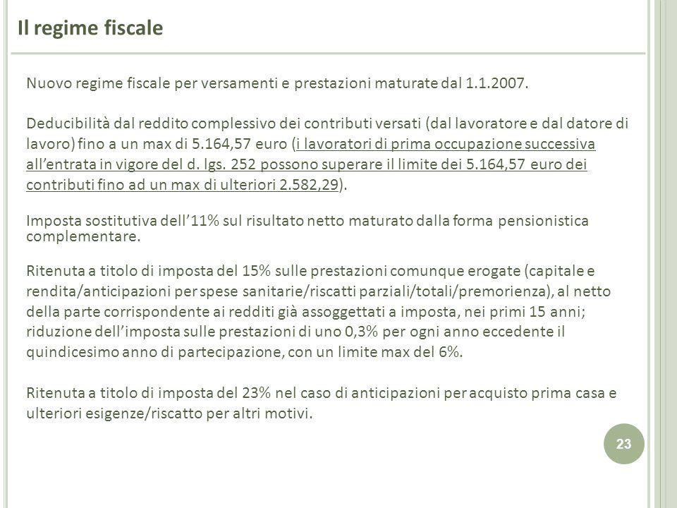 23 Il regime fiscale Nuovo regime fiscale per versamenti e prestazioni maturate dal 1.1.2007. Deducibilità dal reddito complessivo dei contributi vers