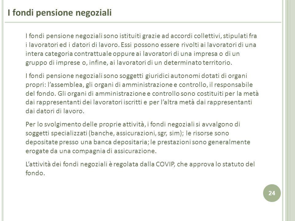 24 I fondi pensione negoziali I fondi pensione negoziali sono istituiti grazie ad accordi collettivi, stipulati fra i lavoratori ed i datori di lavoro