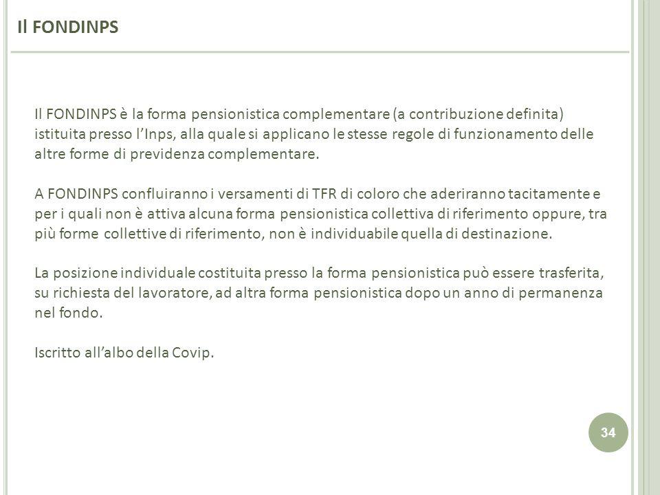 34 Il FONDINPS è la forma pensionistica complementare (a contribuzione definita) istituita presso lInps, alla quale si applicano le stesse regole di f