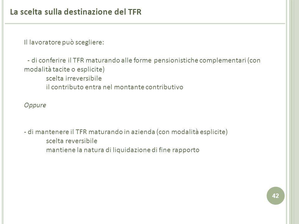 42 La scelta sulla destinazione del TFR Il lavoratore può scegliere: - di conferire il TFR maturando alle forme pensionistiche complementari (con moda