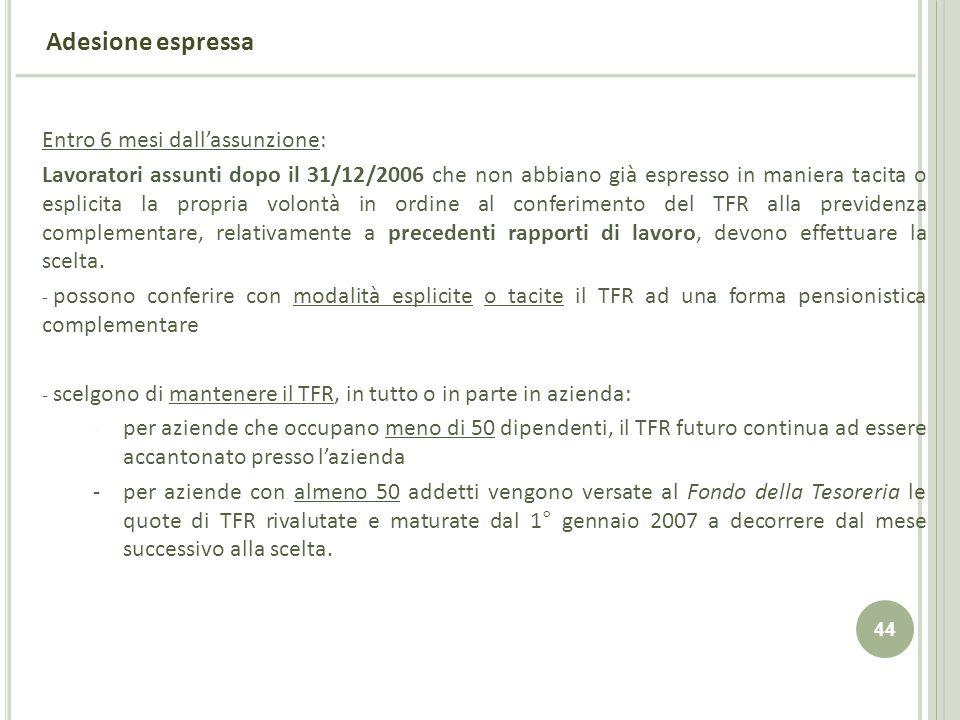 44 Adesione espressa Entro 6 mesi dallassunzione: Lavoratori assunti dopo il 31/12/2006 che non abbiano già espresso in maniera tacita o esplicita la