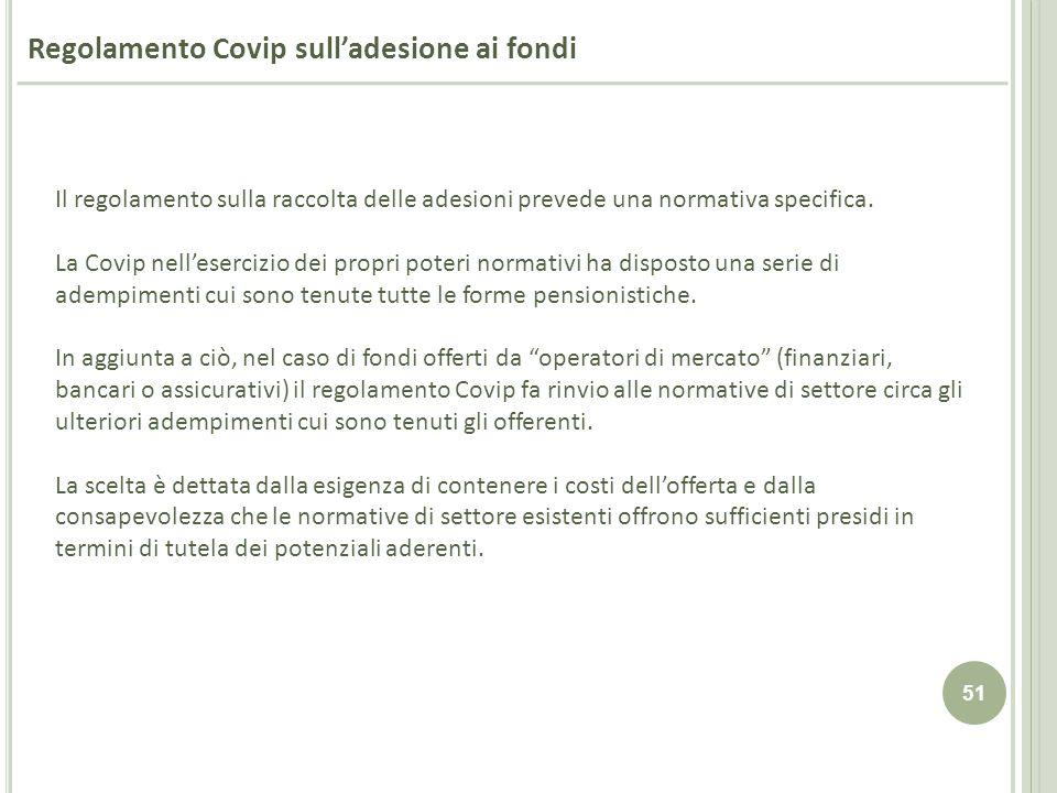 51 Regolamento Covip sulladesione ai fondi Il regolamento sulla raccolta delle adesioni prevede una normativa specifica. La Covip nellesercizio dei pr