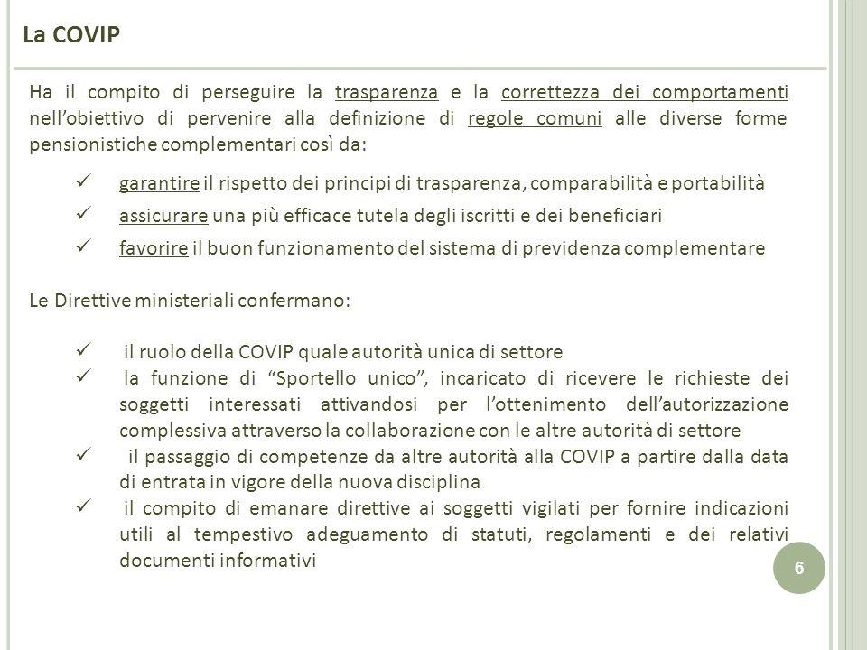 6 La COVIP Ha il compito di perseguire la trasparenza e la correttezza dei comportamenti nellobiettivo di pervenire alla definizione di regole comuni