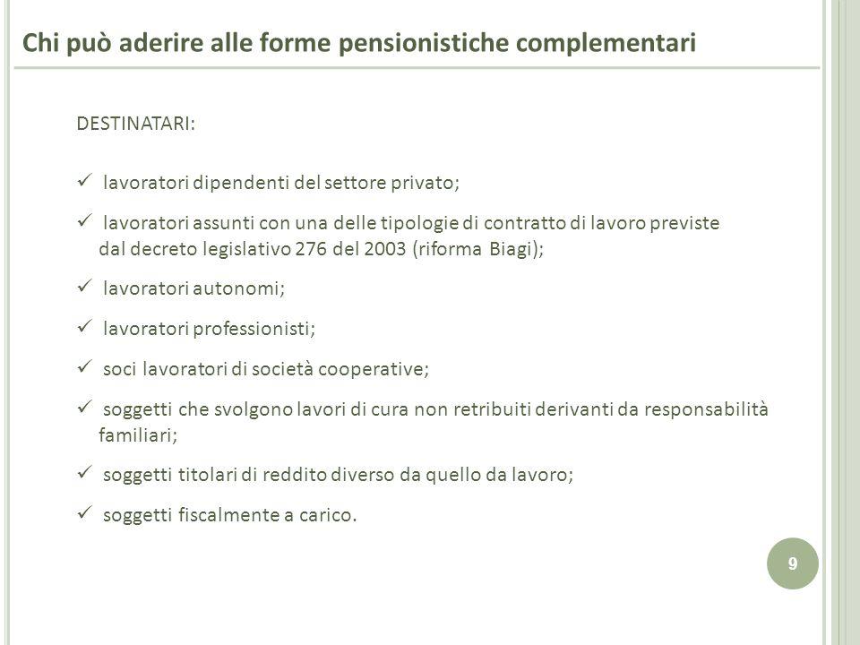 9 Chi può aderire alle forme pensionistiche complementari DESTINATARI: lavoratori dipendenti del settore privato; lavoratori assunti con una delle tip