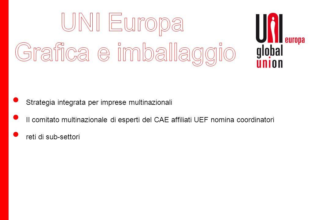 Strategia integrata per imprese multinazionali Il comitato multinazionale di esperti del CAE affiliati UEF nomina coordinatori reti di sub-settori