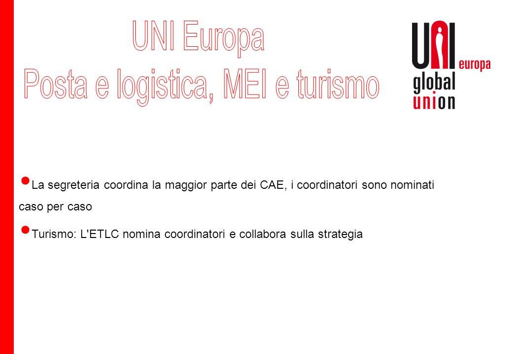 La segreteria coordina la maggior parte dei CAE, i coordinatori sono nominati caso per caso Turismo: L ETLC nomina coordinatori e collabora sulla strategia