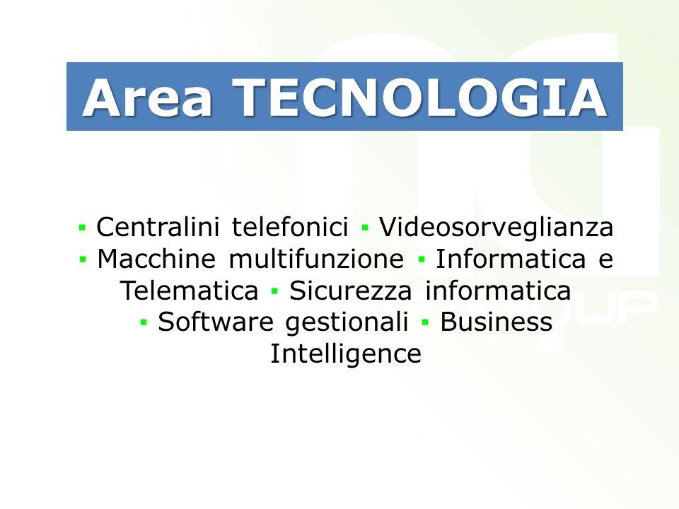 Centralini telefonici Videosorveglianza Macchine multifunzione Informatica e Telematica Sicurezza informatica Software gestionali Business Intelligence Area TECNOLOGIA