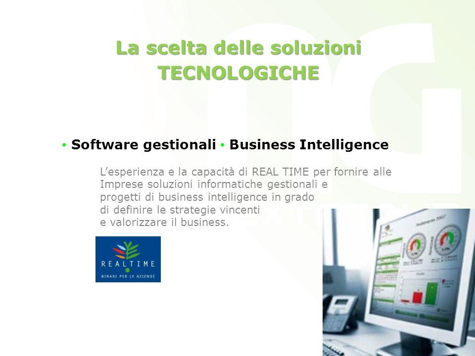 La scelta delle soluzioni TECNOLOGICHE Software gestionali Business Intelligence Lesperienza e la capacità di REAL TIME per fornire alle Imprese soluzioni informatiche gestionali e progetti di business intelligence in grado di definire le strategie vincenti e valorizzare il business.