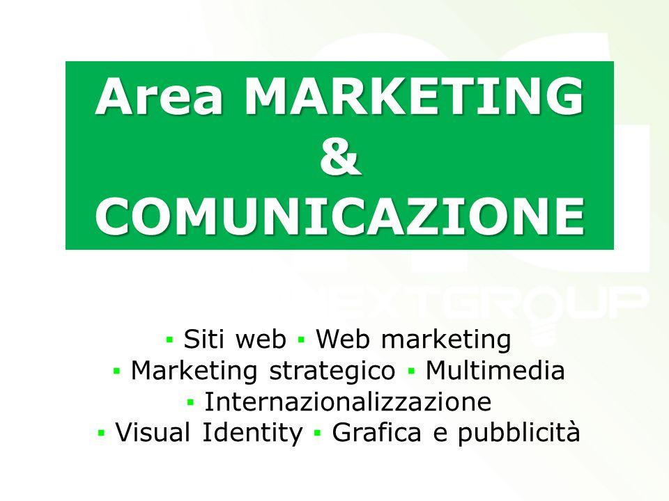Area MARKETING & COMUNICAZIONE Siti web Web marketing Marketing strategico Multimedia Internazionalizzazione Visual Identity Grafica e pubblicità