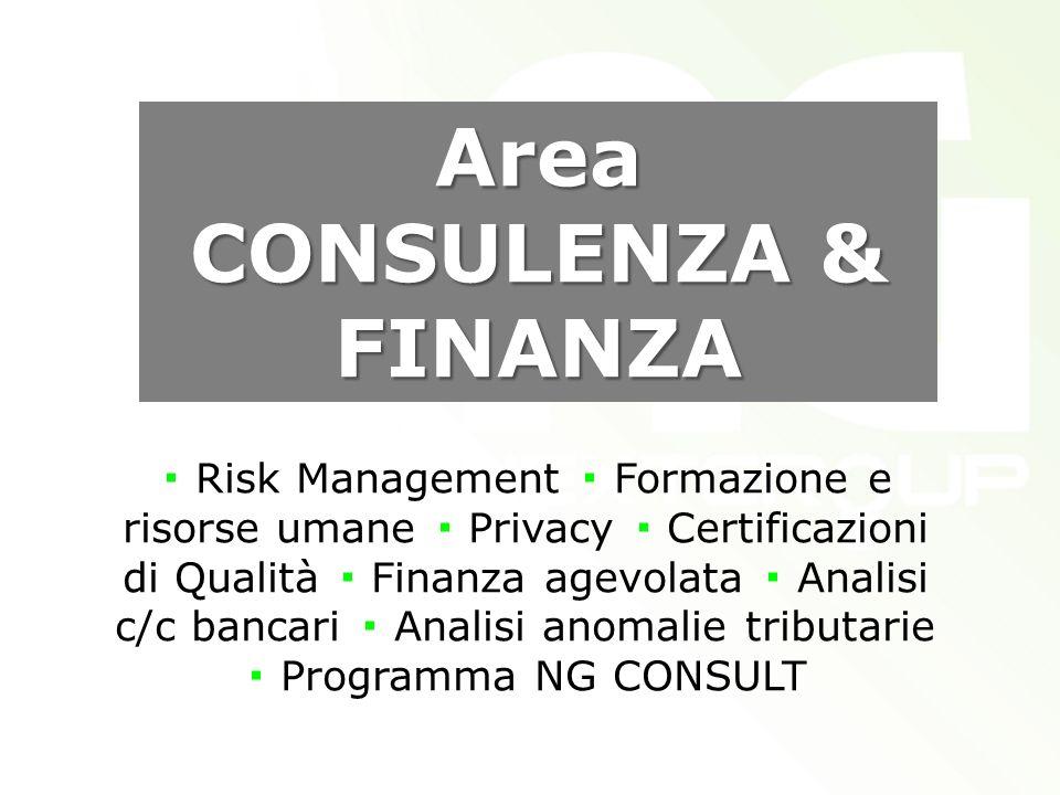 Area CONSULENZA & FINANZA Risk Management Formazione e risorse umane Privacy Certificazioni di Qualità Finanza agevolata Analisi c/c bancari Analisi anomalie tributarie Programma NG CONSULT