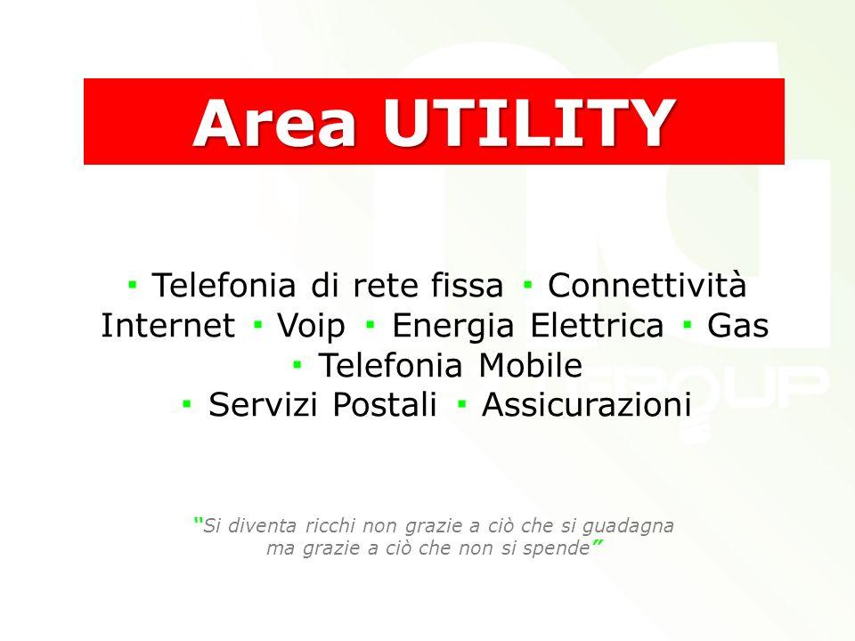 Telefonia di rete fissa Connettività Internet Voip Energia Elettrica Gas Telefonia Mobile Servizi Postali Assicurazioni Area UTILITY Si diventa ricchi non grazie a ciò che si guadagna ma grazie a ciò che non si spende